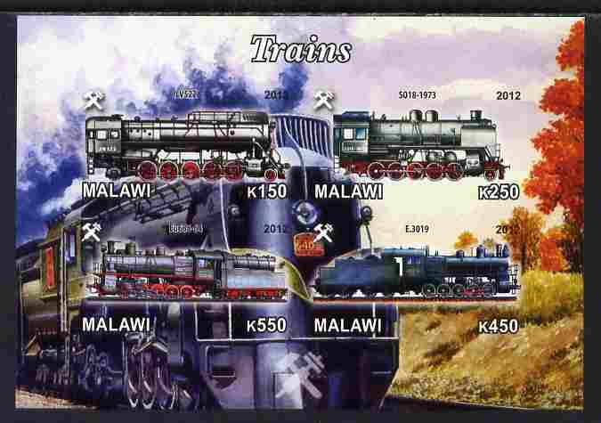 Malawi 2012 Steam Locomotives #04 imperf sheetlet containing 4 values unmounted mint