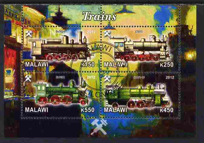 Malawi 2012 Steam Locomotives #05 perf sheetlet containing 4 values cto used