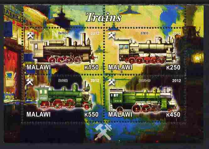 Malawi 2012 Steam Locomotives #05 perf sheetlet containing 4 values unmounted mint