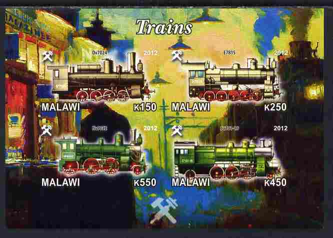 Malawi 2012 Steam Locomotives #05 imperf sheetlet containing 4 values unmounted mint