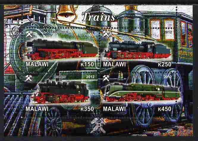 Malawi 2012 Steam Locomotives #06 perf sheetlet containing 4 values unmounted mint