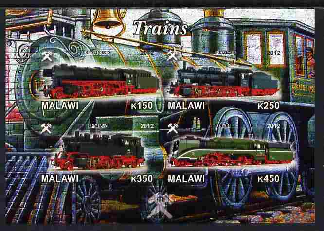 Malawi 2012 Steam Locomotives #06 imperf sheetlet containing 4 values unmounted mint