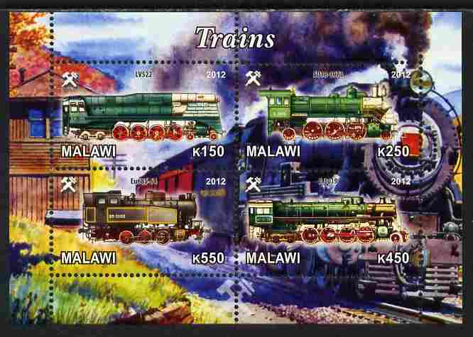 Malawi 2012 Steam Locomotives #07 perf sheetlet containing 4 values unmounted mint