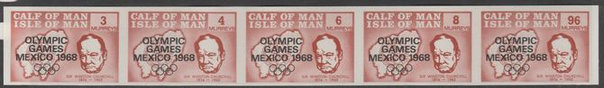 Calf of Man 1968 Olympic Games Mexico overprinted on Churchill imperf set of 5 in brown unmounted mint (Rosen CA123a-27a)