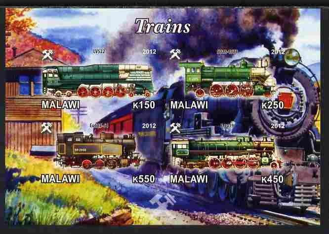 Malawi 2012 Steam Locomotives #07 imperf sheetlet containing 4 values unmounted mint