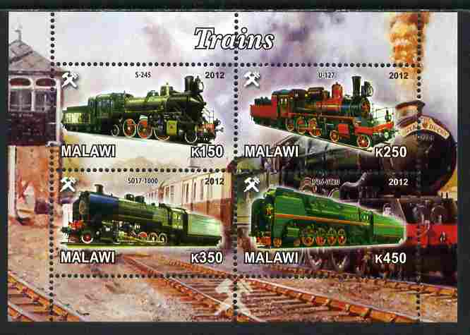 Malawi 2012 Steam Locomotives #08 perf sheetlet containing 4 values unmounted mint