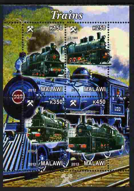 Malawi 2012 Steam Locomotives #09 perf sheetlet containing 4 values unmounted mint