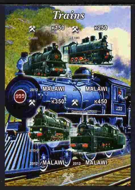 Malawi 2012 Steam Locomotives #09 imperf sheetlet containing 4 values unmounted mint