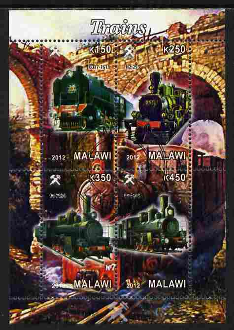 Malawi 2012 Steam Locomotives #10 perf sheetlet containing 4 values cto used