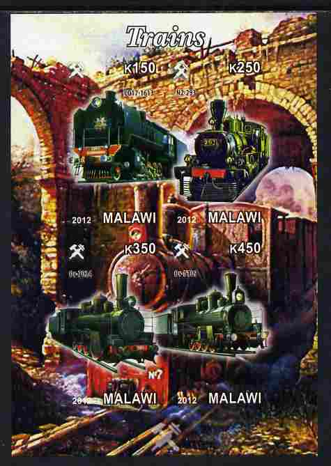 Malawi 2012 Steam Locomotives #10 imperf sheetlet containing 4 values unmounted mint