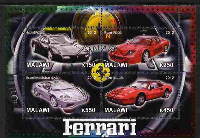 Malawi 2012 Ferrari Cars #01 perf sheetlet containing 4 values cto used