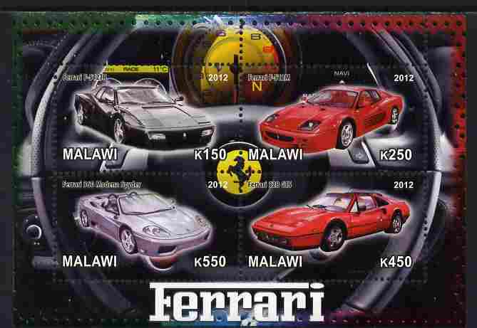 Malawi 2012 Ferrari Cars #01 perf sheetlet containing 4 values unmounted mint