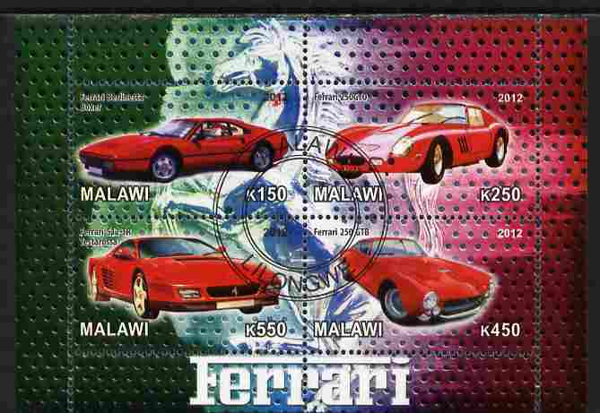Malawi 2012 Ferrari Cars #02 perf sheetlet containing 4 values cto used