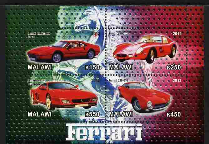 Malawi 2012 Ferrari Cars #02 perf sheetlet containing 4 values unmounted mint
