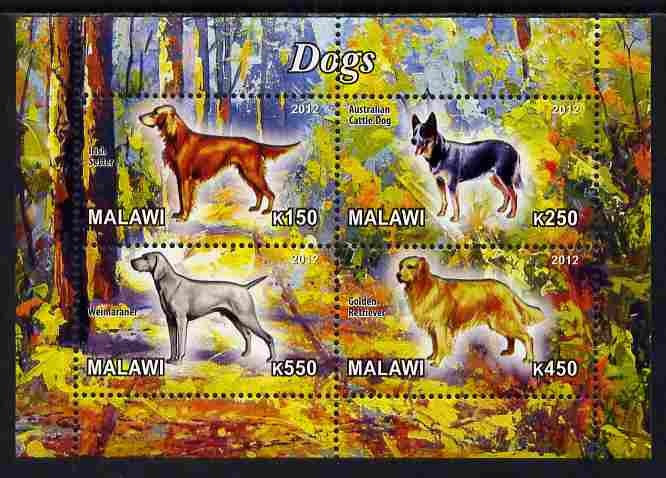 Malawi 2012 Dogs #1 perf sheetlet containing 4 values unmounted mint, stamps on dogs