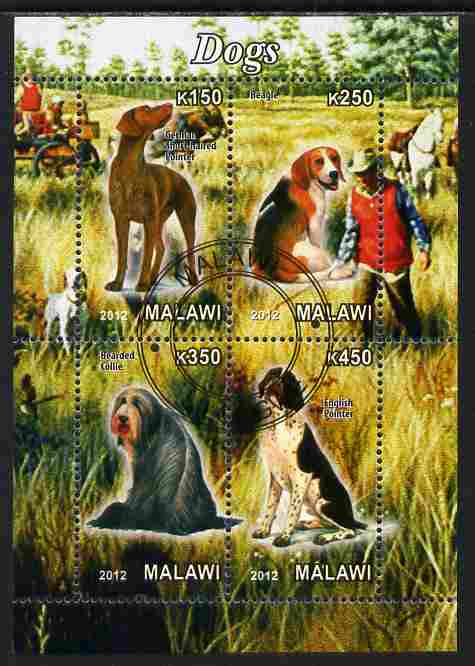 Malawi 2012 Dogs #2 perf sheetlet containing 4 values cto used