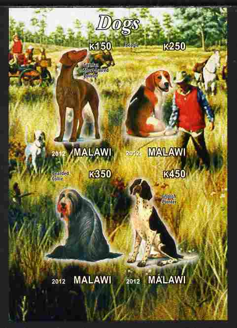 Malawi 2012 Dogs #2 imperf sheetlet containing 4 values unmounted mint
