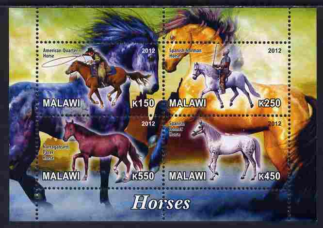 Malawi 2012 Horses #1 perf sheetlet containing 4 values unmounted mint