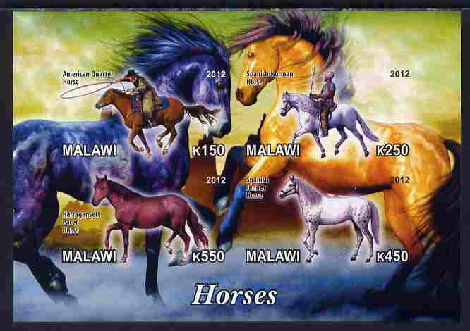 Malawi 2012 Horses #1 imperf sheetlet containing 4 values unmounted mint