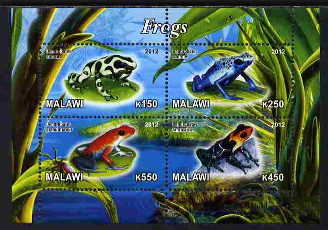 Malawi 2012 Frogs #1 perf sheetlet containing 4 values unmounted mint