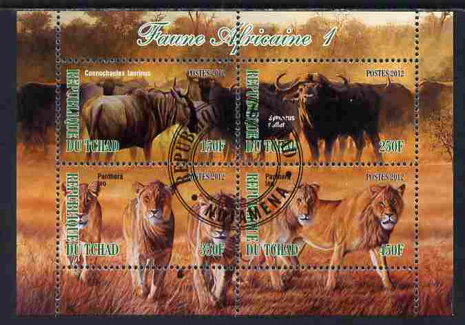 Chad 2012 African Fauna #01 perf sheetlet containing 4 values cto used