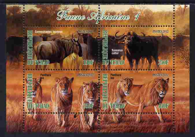 Chad 2012 African Fauna #01 perf sheetlet containing 4 values unmounted mint