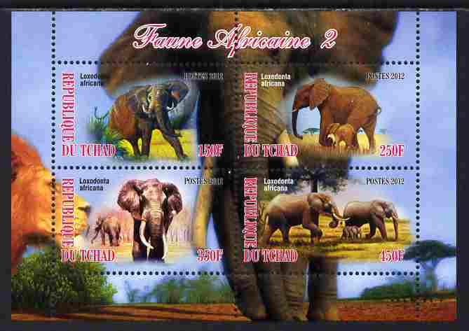 Chad 2012 African Fauna #02 perf sheetlet containing 4 values unmounted mint