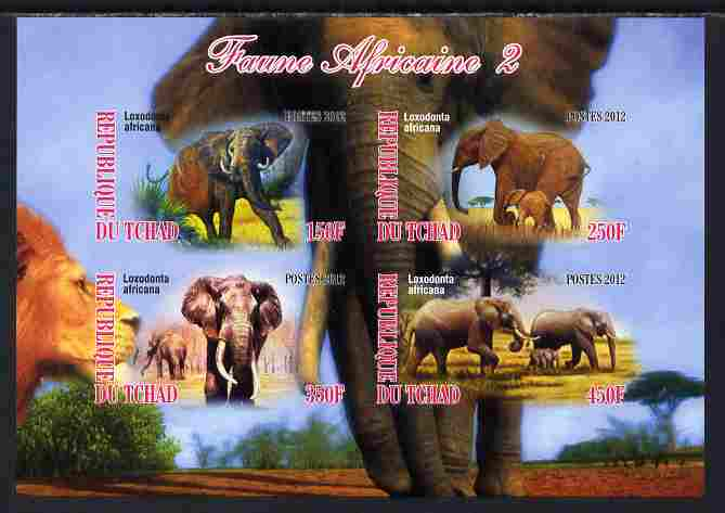 Chad 2012 African Fauna #02 imperf sheetlet containing 4 values unmounted mint