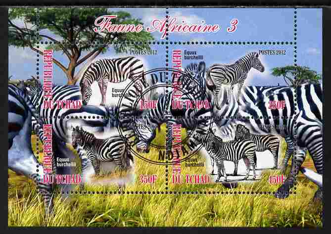 Chad 2012 African Fauna #03 perf sheetlet containing 4 values cto used
