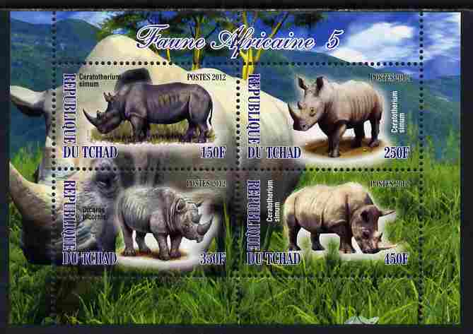 Chad 2012 African Fauna #05 perf sheetlet containing 4 values unmounted mint
