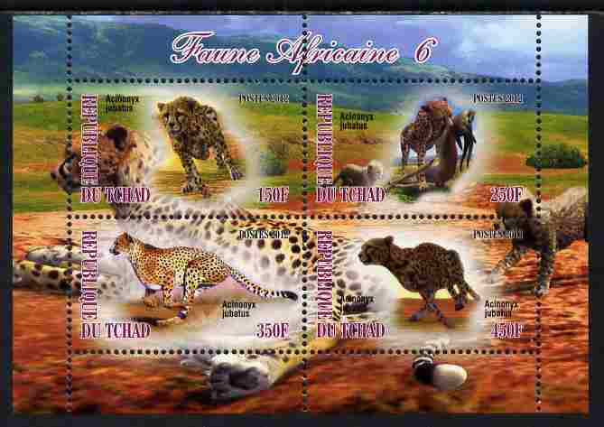 Chad 2012 African Fauna #06 perf sheetlet containing 4 values unmounted mint