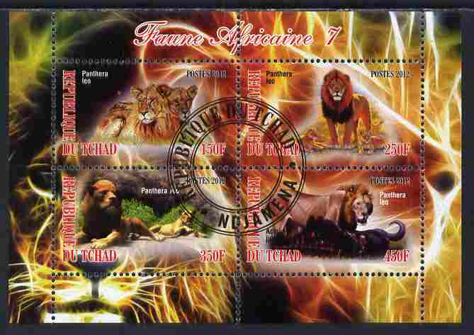 Chad 2012 African Fauna #07 perf sheetlet containing 4 values cto used