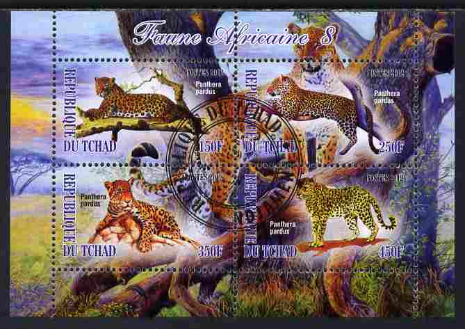 Chad 2012 African Fauna #08 perf sheetlet containing 4 values cto used