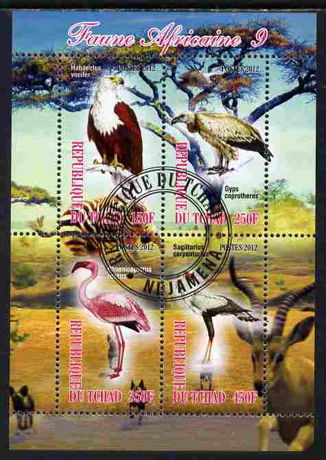 Chad 2012 African Fauna #09 perf sheetlet containing 4 values cto used
