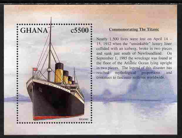 Ghana 1998 Famous Ships - RMS Titanic perf m/sheet unmounted mint SG MS 2697a