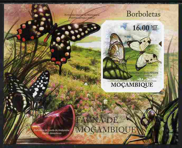 Mozambique 2011 Butterflies #2 imperf m/sheet unmounted mint. Note this item is privately produced and is offered purely on its thematic appeal , stamps on butterflies