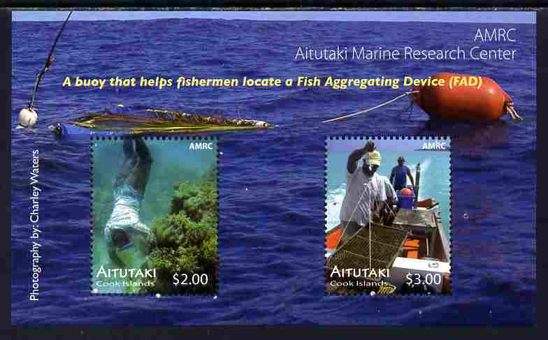 Cook Islands - Aitutaki 2011 Marine Research Centre perf m/sheet containing 2 values unmounted mint