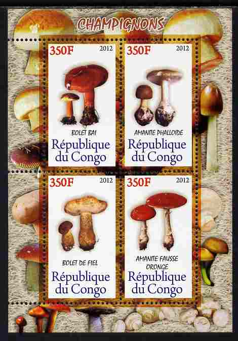 Congo 2012 Mushrooms perf sheetlet containing 4 values unmounted mint