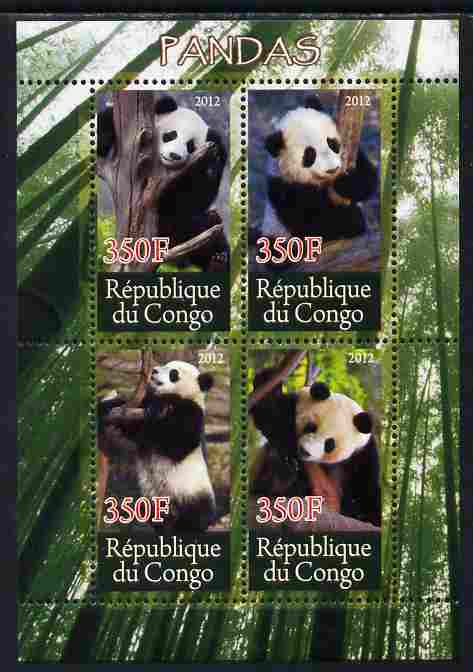 Congo 2012 Pandas perf sheetlet containing 4 values unmounted mint