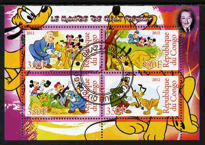 Congo 2012 Disney Cartoons #1 perf sheetlet containing 4 values cto used