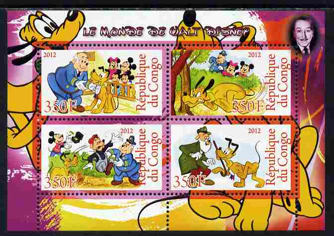 Congo 2012 Disney Cartoons #1 perf sheetlet containing 4 values unmounted mint