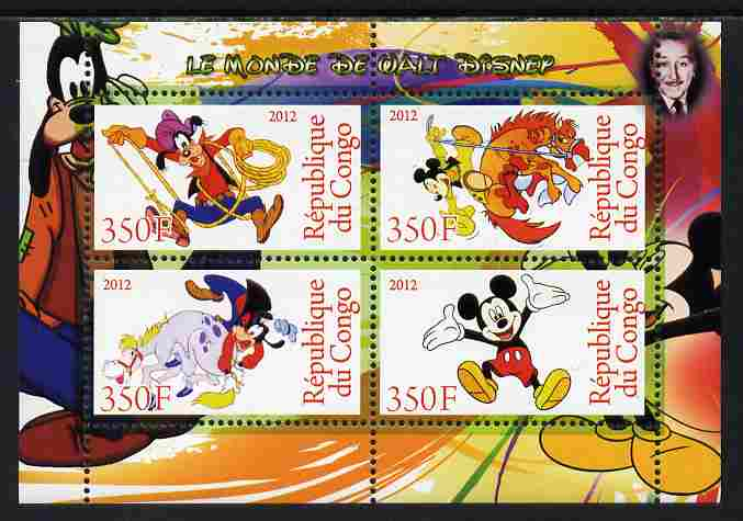 Congo 2012 Disney Cartoons #2 perf sheetlet containing 4 values unmounted mint