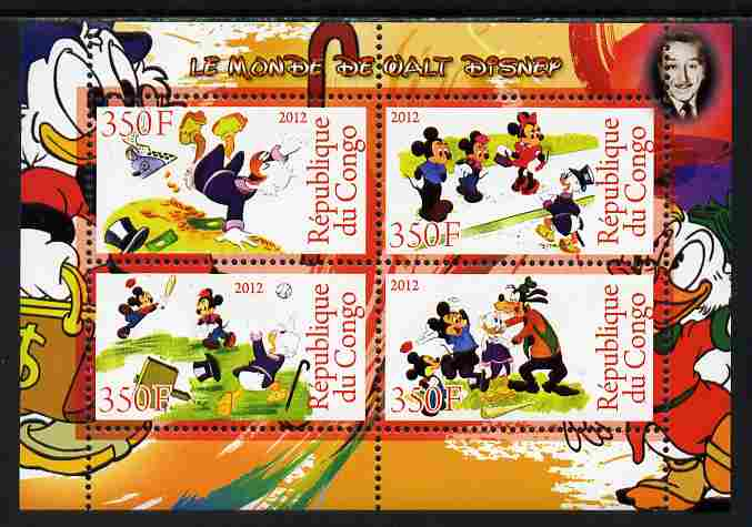 Congo 2012 Disney Cartoons #4 perf sheetlet containing 4 values unmounted mint