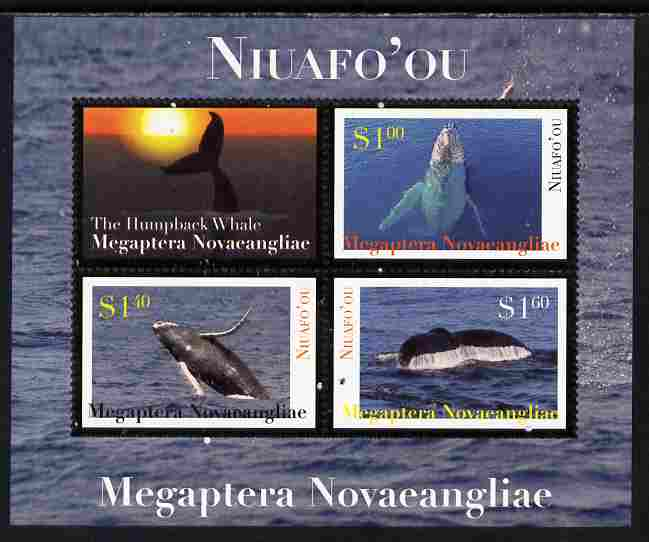 Tonga - Niuafo'ou 2011 Whales #1 perf sheetlet containing 3 values plus label unmounted mint