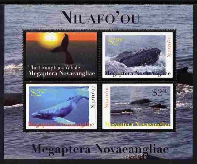 Tonga - Niuafo'ou 2011 Whales #2 perf sheetlet containing 3 values plus label unmounted mint