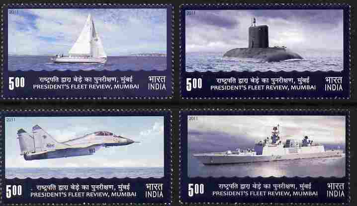 India 2011 President's Fleet Review set of 4 unmounted mint