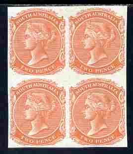 South Australia 1868-76 QV 2d brick-red imperf block of 4 on unwatermarked paper, unmounted mint as SG type 12 (SG 152)