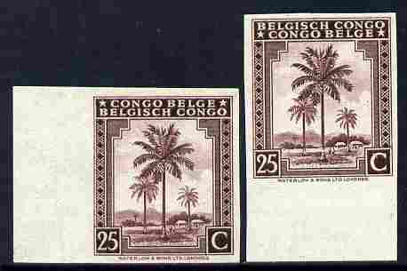 Belgian Congo 1942 Oil Palms 25c maroon two imperf marginal singles with bi-lingual inscription reversed, mounted mint
