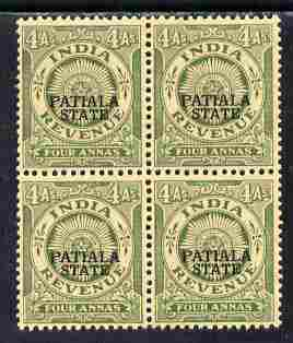 Indian States - Patiala 1934-49 4a green British Indian Revenue type opt