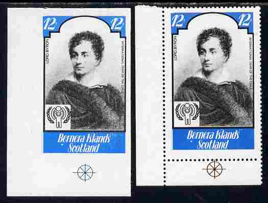 Bernera 1979 Int Year of the Child - Writers - Lord Byron 12p imperf proof complete with perf label as issued both unmounted mint
